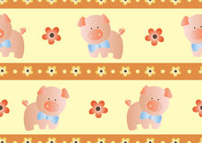 Seamless pattern with toy baby pig Stock Images