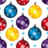 Seamless pattern, toy balls for festive fur-tree, on white backg Royalty Free Stock Photography