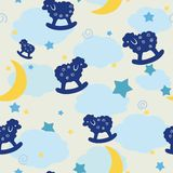 Seamless pattern with toy silhouettes of lambs. Vector illustration. Royalty Free Stock Images