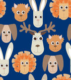 Seamless pattern with toys. Seamless blue background from naive drawn toys rabbit dog lion cat elk Royalty Free Stock Photo