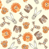 Seamless pattern with toys. Seamless blue background from naive drawn toys rabbit dog lion cat elk Royalty Free Stock Image