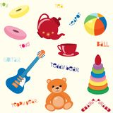 Seamless pattern with toys. Bright seamless pattern with toys and text Stock Photos
