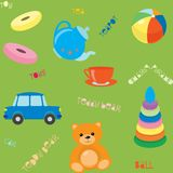 Seamless pattern with toys. Bright seamless pattern with toys and text Royalty Free Stock Photo
