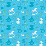 Seamless pattern with toys - horse, rabbit, duck, heart, star.  Stock Photo
