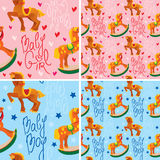 Seamless pattern with toys horses Stock Image