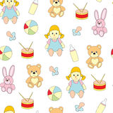 Seamless pattern from toys for kids. A vector picture with a ball, a doll, a baby`s dummy, a hare, a bear. Seamless pattern from toys for kids. A vector picture Stock Photo