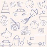 Seamless pattern with toys outlines Royalty Free Stock Photos