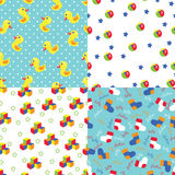 Seamless pattern of toys,polka dot,socks,stars Royalty Free Stock Photography