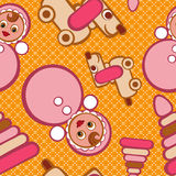 Seamless pattern toys. Stylish beautiful baby seamless pattern with toys. Vector elegance background. Children's decoration texture Stock Image