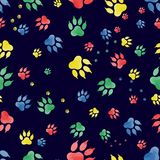 Seamless pattern of traces of dog`s paws.   Royalty Free Stock Photography