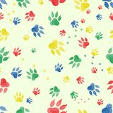 Seamless pattern of traces of dog`s paws.   Royalty Free Stock Image