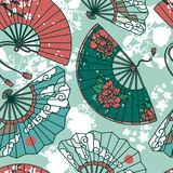 Seamless pattern with  traditional asian hand paper fans. With beautiful ornaments and sakura flowers, vector illustration Royalty Free Stock Photos