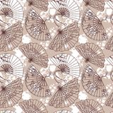 Seamless pattern with  traditional asian hand paper fans with beautiful ornaments   Royalty Free Stock Image