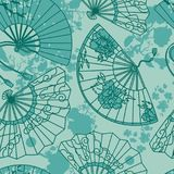 Seamless pattern with  traditional asian hand paper fans with beautiful ornaments  Royalty Free Stock Photography