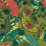 Seamless pattern with  traditional asian hand paper fans with beautiful ornaments  Stock Photos
