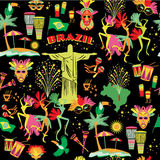 Seamless pattern with traditional Brazilian items Royalty Free Stock Photography