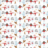 Seamless pattern with traditional Christmas characters. Stock Photos