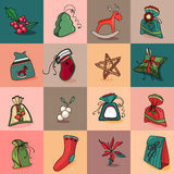 Seamless pattern with traditional Christmas elements. Endless texture Royalty Free Stock Image