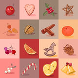 Seamless pattern with traditional Christmas elements, fruits, cookies, berries. Endless texture for season design, announcements, postcards, posters Royalty Free Stock Images