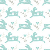 Seamless Pattern with Traditional Folk Motif with Rabbits Royalty Free Stock Image