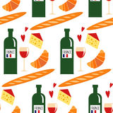 Seamless pattern with traditional french food: croissant, cheese, baguette, red wine. Stock Images