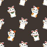 Seamless pattern with traditional Japanese so called `maneki Neki`, a white winking cat used as good luck charm on black back