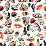 Seamless pattern of traditional japanese cuisine Royalty Free Stock Photo