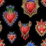 Seamless pattern with traditional Mexican hearts with fire and flowers, embroidered sequins, beads and pearls. Vector patches. Seamless pattern with traditional Stock Images