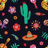 Seamless pattern with traditional Mexican symbols on black background - sombrero, guitar, cactus, maracas, chili pepper. Flat cartoon vector illustration for royalty free illustration