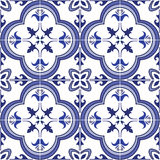 Seamless pattern. Traditional ornate portuguese tiles azulejos. Vector illustration. Royalty Free Stock Photo