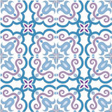 Seamless pattern. Traditional ornate portuguese tiles azulejos. Vector illustration. Seamless pattern. Traditional ornate portuguese tiles azulejos in blue and Stock Photos