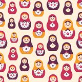 Seamless pattern with traditional Russian folk handcrafted nesting dolls. Backdrop with matryoshkas of various size stock illustration