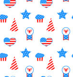 Seamless Pattern with Traditional Symbolic. Illustration Seamless Pattern with Traditional Symbolic Objects for Independence Day of America - Vector Stock Photo