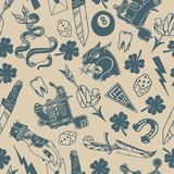 Seamless pattern with traditional tattoo designs: dice, clover, knife, lightning bolt, panther, tattoo machine, tooth, snake, hors Stock Photography