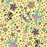 Seamless pattern with traditional tattoos, tattoo equipment and piercings in vintage color vector illustration