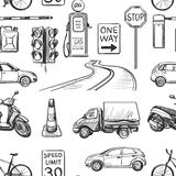 Seamless pattern of Traffic Laws icons Stock Image