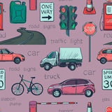 Seamless pattern of Traffic Laws icons Royalty Free Stock Photos