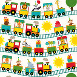 Seamless pattern train with birthday characters Stock Image
