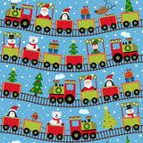 Seamless pattern train with Christmas characters Stock Photography
