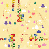 Seamless pattern with trains and railroad. Design for kids. Vector illustration in cartoon style Royalty Free Stock Image