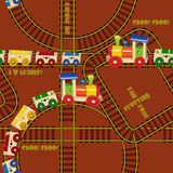 Seamless pattern with trains and railroad. Design for kids. Vector illustration in cartoon style Royalty Free Stock Photo