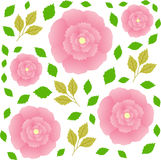 Seamless pattern with transparency and pink flowers Royalty Free Stock Photos