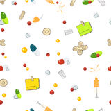 Seamless Pattern  transparent background with Cartoon medical instruments Stock Photography