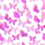 Seamless pattern, transparent butterflies Stock Image