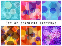 Seamless pattern of transparent geometric shapes. A set of abstract designs. Stock Photo