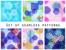 Seamless pattern of transparent geometric shapes. A set of abstract designs. Vector Stock Photos