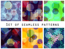 Seamless pattern of transparent geometric shapes. A set of abstract designs. Vector Royalty Free Stock Images