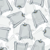 Seamless pattern of transparent grey sweatshirts Royalty Free Stock Photos