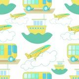 Seamless pattern Transport bus, airplane, ship. vector  Stock Photos