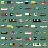 Seamless pattern with transport icons. Royalty Free Stock Images